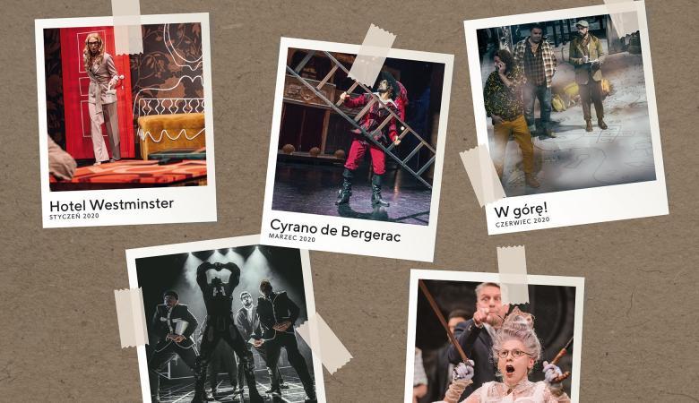 Pięć kolorowych zdjęć ze spektakli teatralnych rozrzuconych na szarym tle.