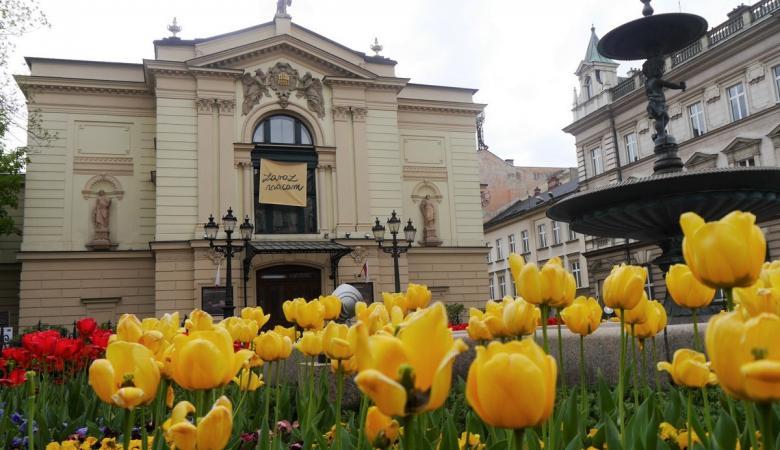 Na pierwszym planie kwietnik pełen żółtych i czerwonych tulipanów. W tle zabytkowa fasada Teatru Polskiego. W oknie, w centrum fasady teatru - baner z napisem: ZARAZ WRACAM