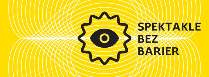 logo cyklu SPEKTAKLE BEZ BARIER - czarny symbol oka na żółtym tle